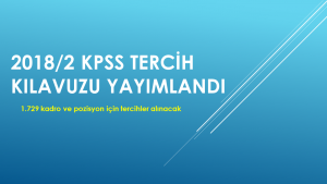 2018/2 KPSS tercih kılavuzu yayımlandı (1.729 kadro ve pozisyon)